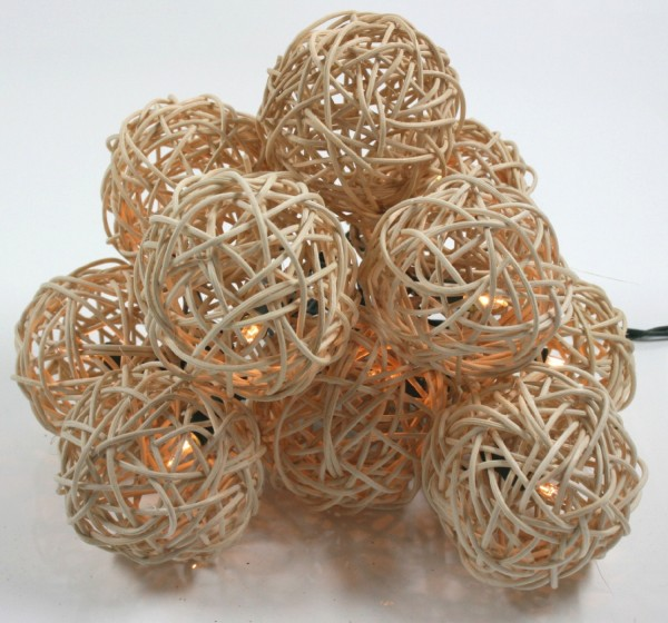 Rattan Ball LED Lampions Lichterkette